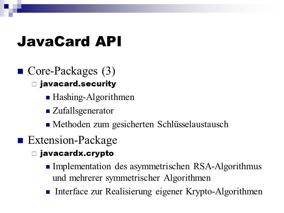 JavaCard API Core-Packages (3) javacard.security Hashing-Algorithmen Zufallsgenerator Methoden zum gesicherten Schlüsselaustausch Extension-Package ja