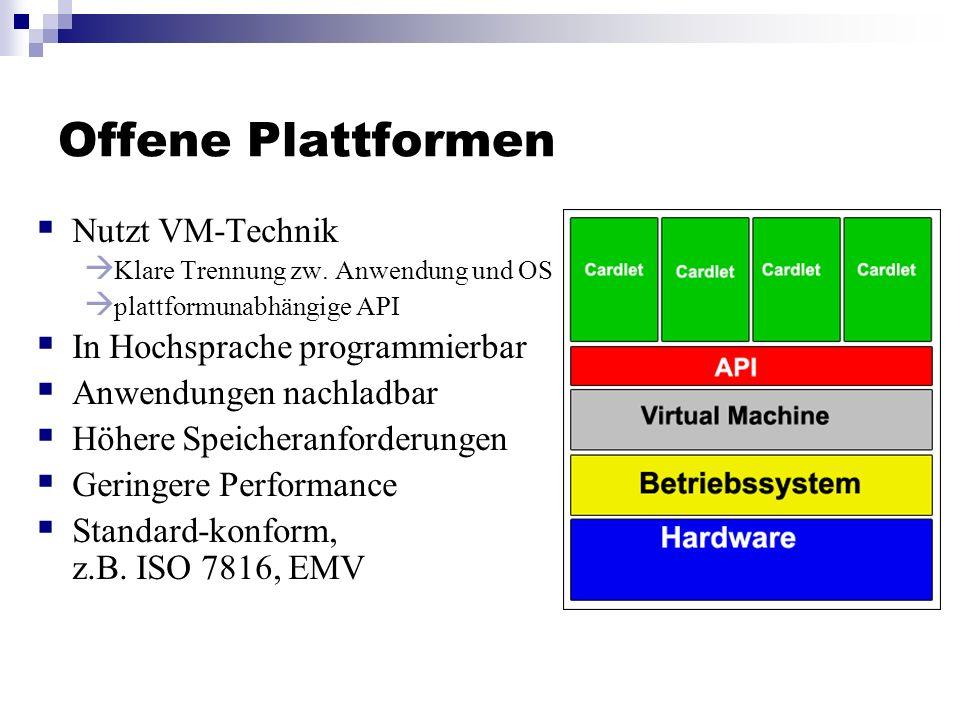 Offene Plattformen Nutzt VM-Technik Klare Trennung zw. Anwendung und OS plattformunabhängige API In Hochsprache programmierbar Anwendungen nachladbar