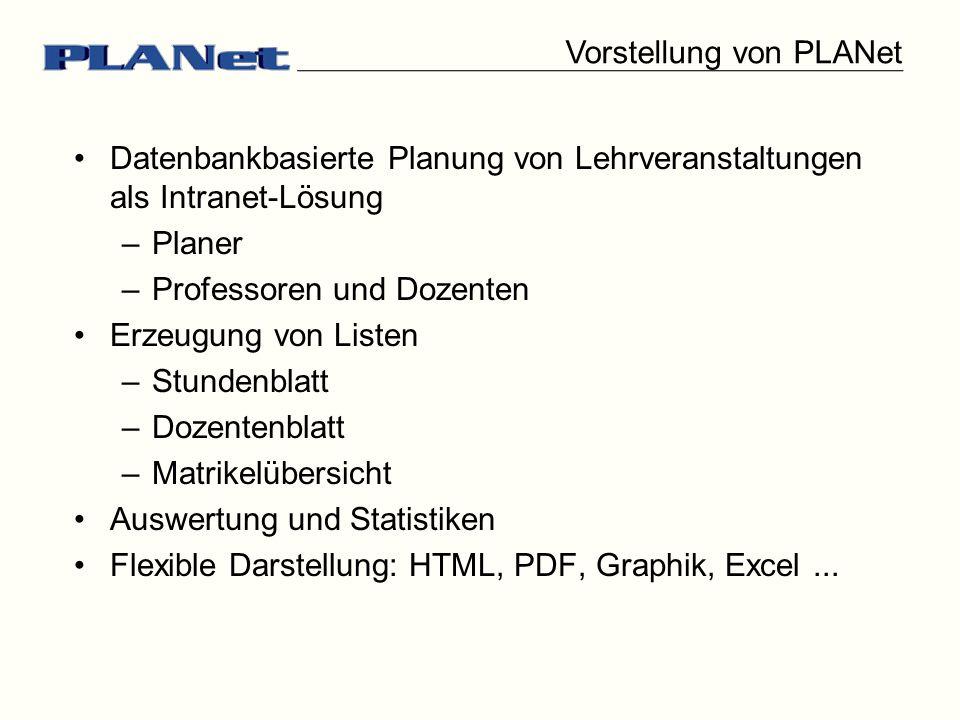Vorstellung von PLANet Datenbankbasierte Planung von Lehrveranstaltungen als Intranet-Lösung –Planer –Professoren und Dozenten Erzeugung von Listen –S