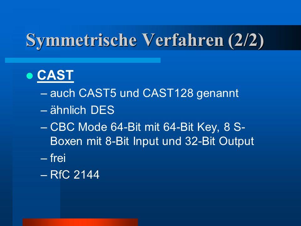 Symmetrische Verfahren (1/2) IDEA –64 Bit im CFB (Cipher Feedback Block) Verfahren (Rückführung des Ciphertextes) –patentiert (Ascom (Schweiz)) 3DES (