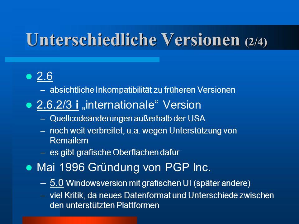 Unterschiedliche Versionen (1/4) 1.0 bis 2.3 –Guerilla Freeware –unter Federführung von Philip Phil R. Zimmermann außerhalb der USA entstanden, da RSA