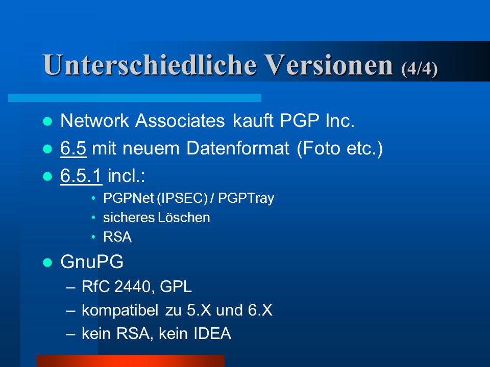 Unterschiedliche Versionen (3/4) 5.0 i –Um US- Exportgesetze zu Umgehen als !ausgedruckter Quelltext! Exportiert –eingescannt und compiliert 1997 Vers