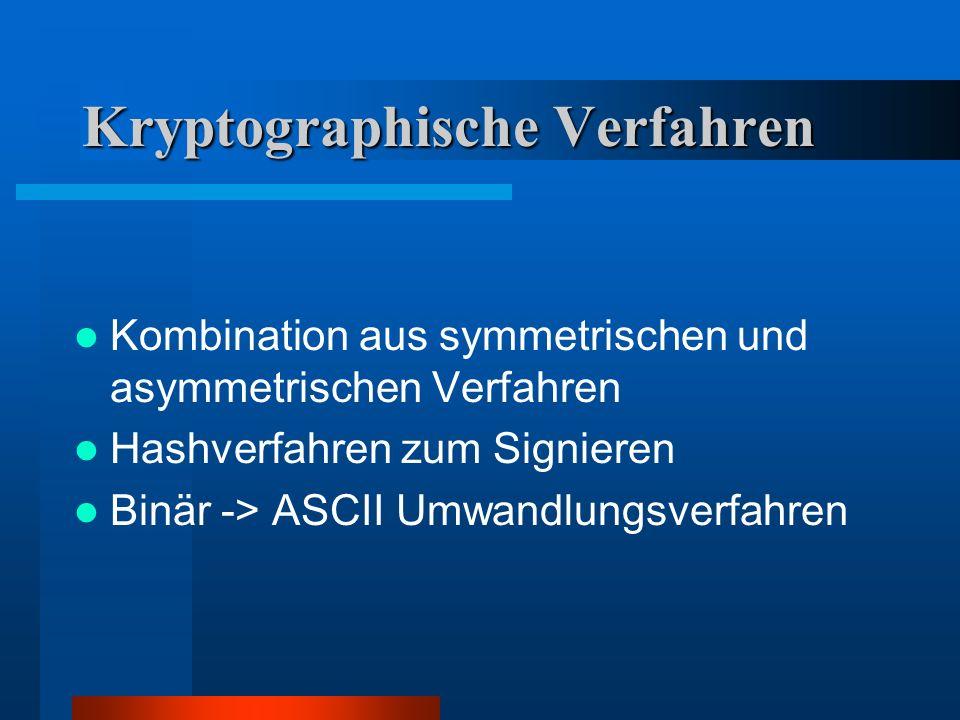 Kryptographische Verfahren Kombination aus symmetrischen und asymmetrischen Verfahren Hashverfahren zum Signieren Binär -> ASCII Umwandlungsverfahren