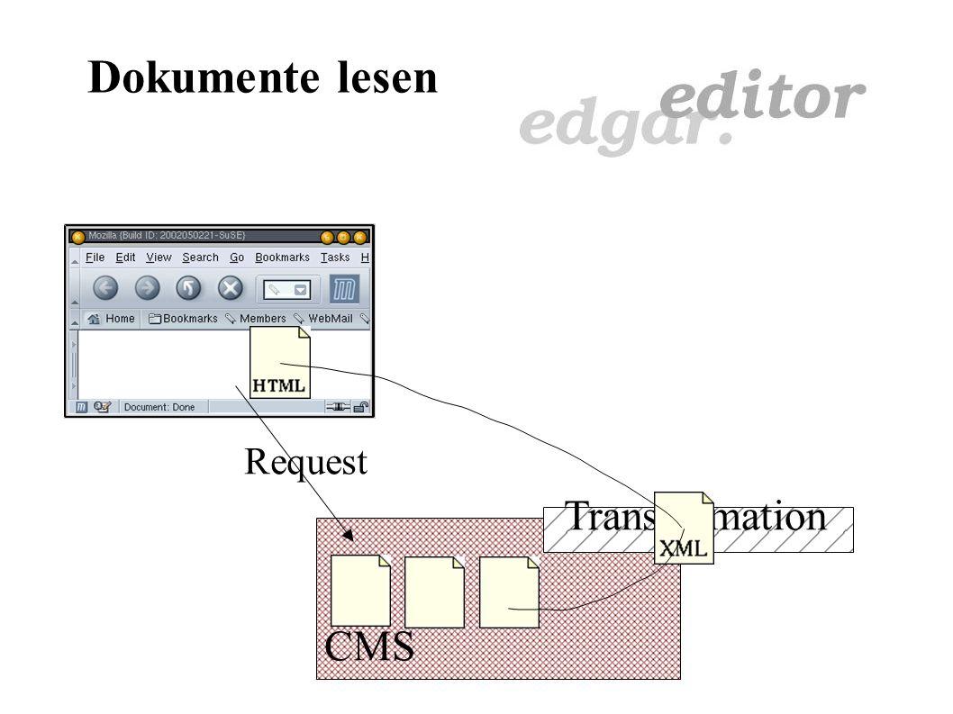 Dokumente lesen Probleme: Dokumenttyp nicht eindeutig Möglicherweise verschiedene Anwendungen Keine Plattformunabhängigkeit Dokumente von CMS losgelöst Keine einheitliche Handhabung (über Browser) Kein einheitliches Layout Layout variiert zwischen Plattformen Festlegung auf Dateitypen