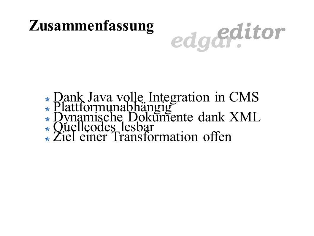 Dokumente lesen Lösung: Editor nutzt XML Einfache Transformation (XSL) Zope verfügt über Transformationsmechanismen Zielformat flexibel Serverseitige Konvertierung Dokumente dynamisch veränderbar (Styles) Editor austauschbar Format erweiterbar (Styles, Tags) Verarbeitung von Metadaten