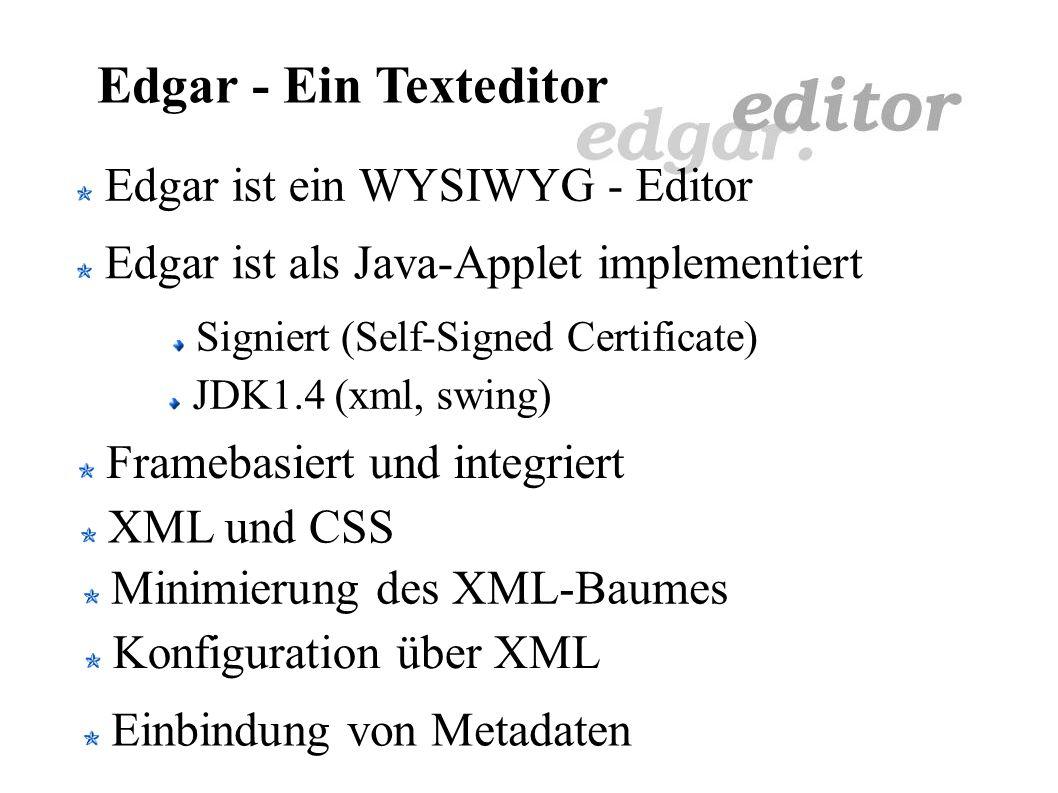 Edgar - Ein Texteditor Ein Vortrag von Carsten Severin