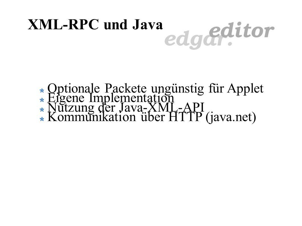 XML-RPC Remote Procedure Calling Kommunikation zwischen Editor und CMS Laden und Speichern von Dateien HTTP und XML-RPC Zum Versenden von Requests Req