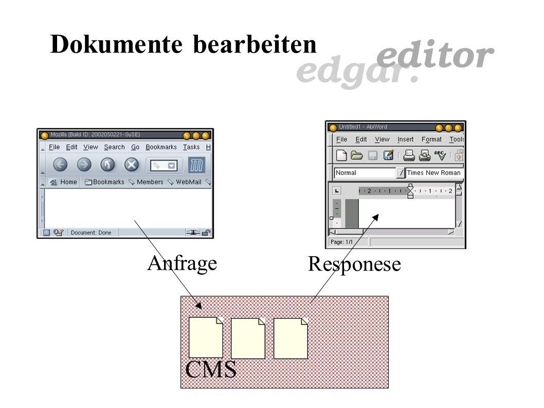 Übersicht Wozu ein Texteditor im CMS? Dokumente bearbeiten Dokumente lesen XML CSS Metadaten XML-RPC Ausblick