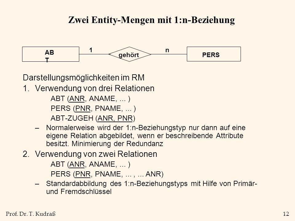 Prof. Dr. T. Kudraß12 Zwei Entity-Mengen mit 1:n-Beziehung Darstellungsmöglichkeiten im RM 1.Verwendung von drei Relationen ABT (ANR, ANAME,... ) PERS