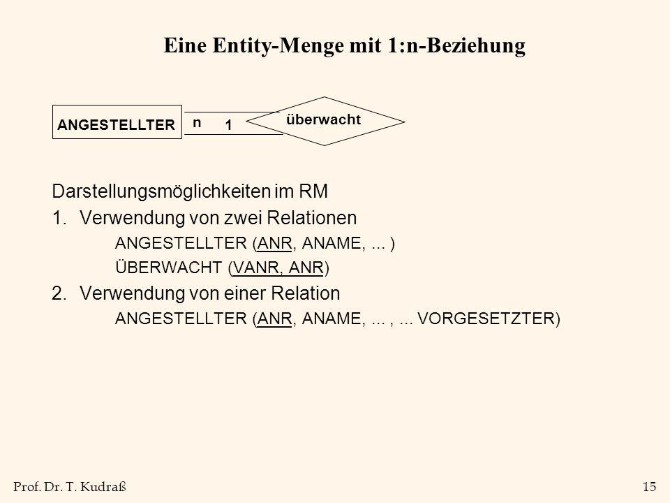 Prof. Dr. T. Kudraß15 Eine Entity-Menge mit 1:n-Beziehung Darstellungsmöglichkeiten im RM 1.Verwendung von zwei Relationen ANGESTELLTER (ANR, ANAME,..