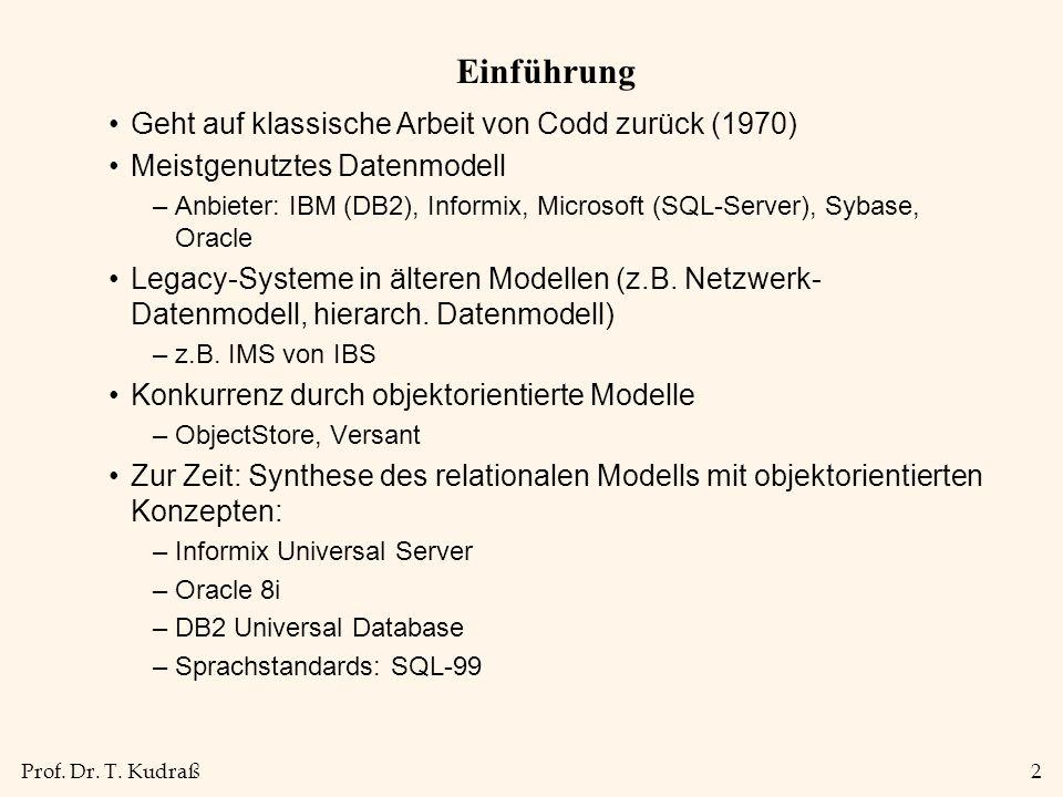Prof. Dr. T. Kudraß2 Einführung Geht auf klassische Arbeit von Codd zurück (1970) Meistgenutztes Datenmodell –Anbieter: IBM (DB2), Informix, Microsoft