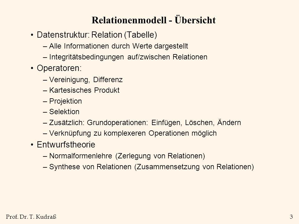 Prof. Dr. T. Kudraß3 Relationenmodell - Übersicht Datenstruktur: Relation (Tabelle) –Alle Informationen durch Werte dargestellt –Integritätsbedingunge