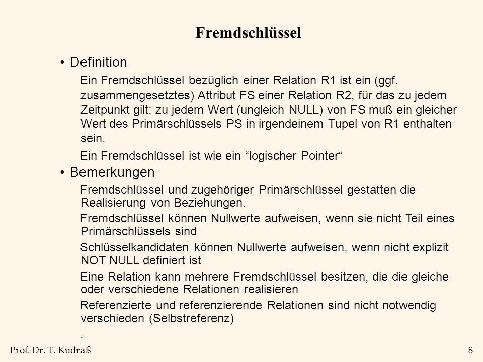 Prof. Dr. T. Kudraß8 Fremdschlüssel Definition Ein Fremdschlüssel bezüglich einer Relation R1 ist ein (ggf. zusammengesetztes) Attribut FS einer Relat