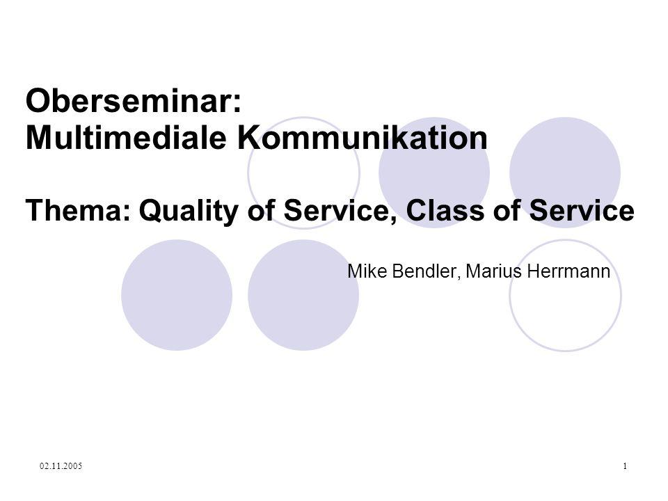 02.11.20051 Oberseminar: Multimediale Kommunikation Thema: Quality of Service, Class of Service Mike Bendler, Marius Herrmann
