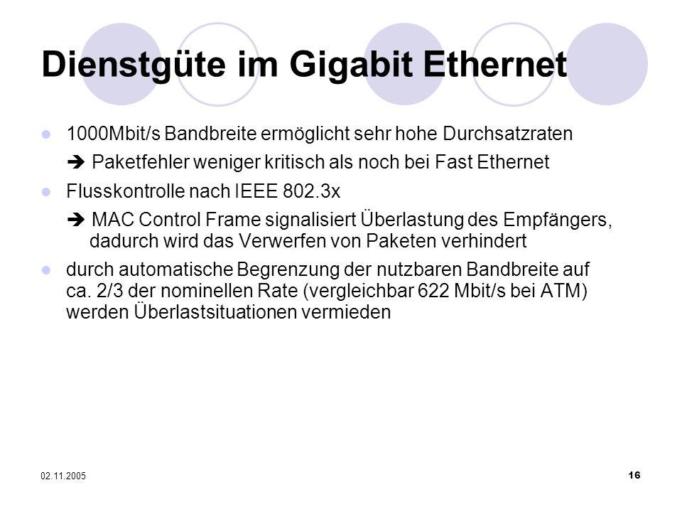 02.11.200516 1000Mbit/s Bandbreite ermöglicht sehr hohe Durchsatzraten Paketfehler weniger kritisch als noch bei Fast Ethernet Flusskontrolle nach IEE