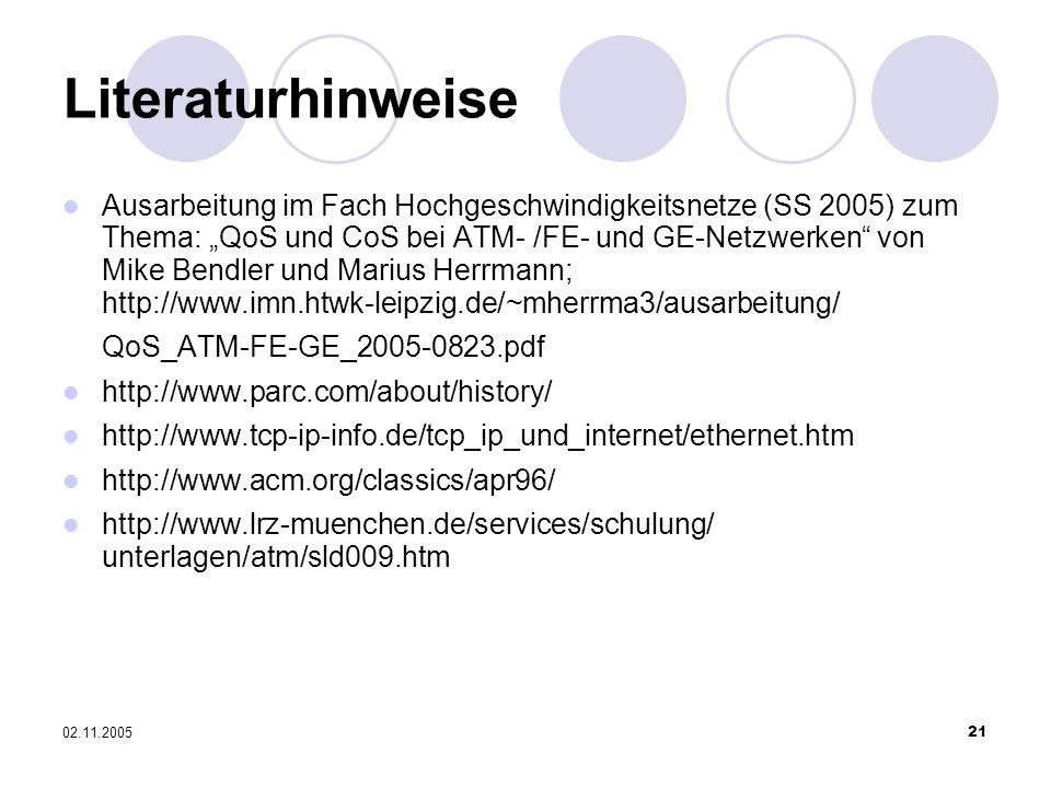 02.11.200521 Literaturhinweise Ausarbeitung im Fach Hochgeschwindigkeitsnetze (SS 2005) zum Thema: QoS und CoS bei ATM- /FE- und GE-Netzwerken von Mik