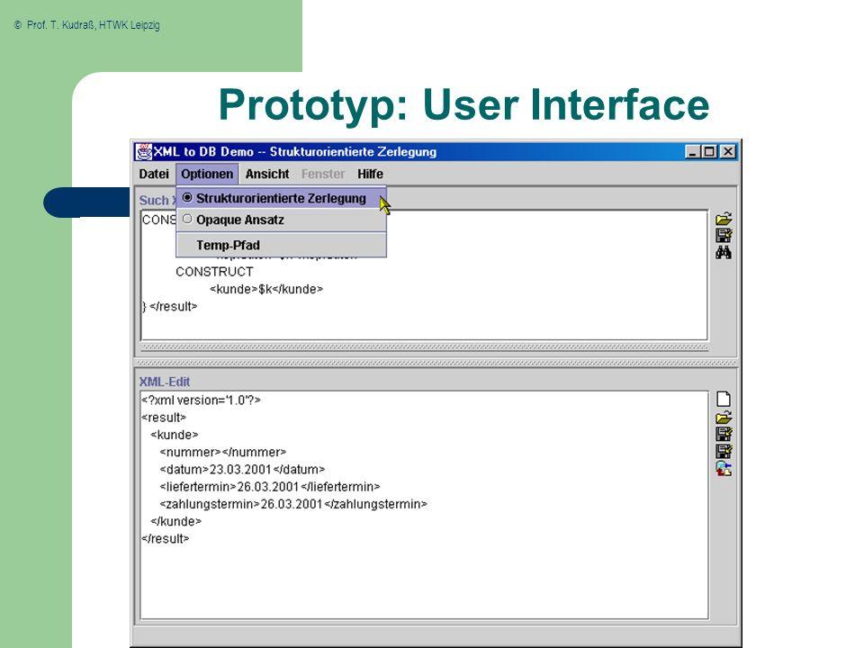 © Prof. T. Kudraß, HTWK Leipzig Prototyp: User Interface