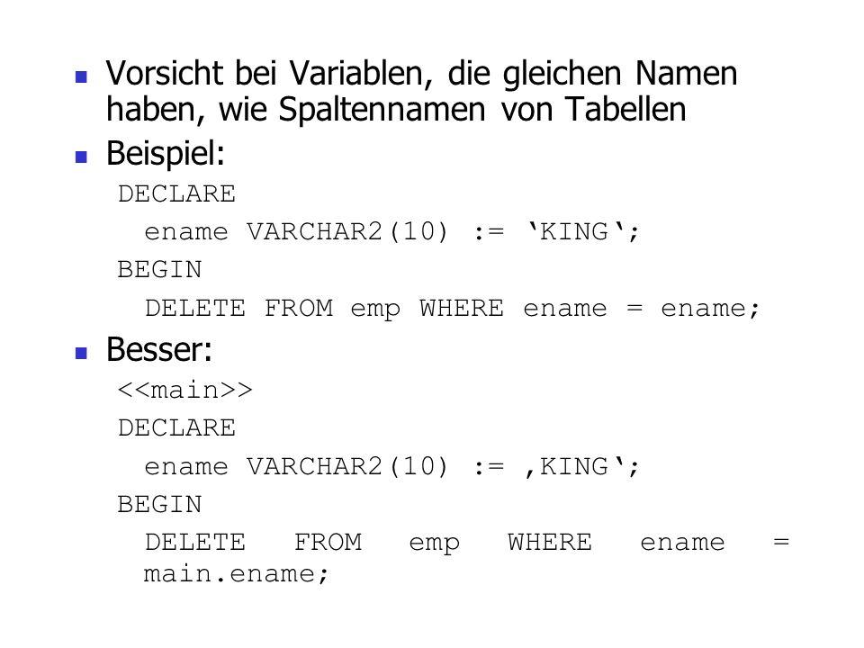 15 Erweiterte Funktionalitäten DEFAULT: blood_type CHAR DEFAULT 0; blood_type CHAR := 0; NOT NULL: acct_id INTEGER(4) NOT NULL := 9999; %TYPE: credit
