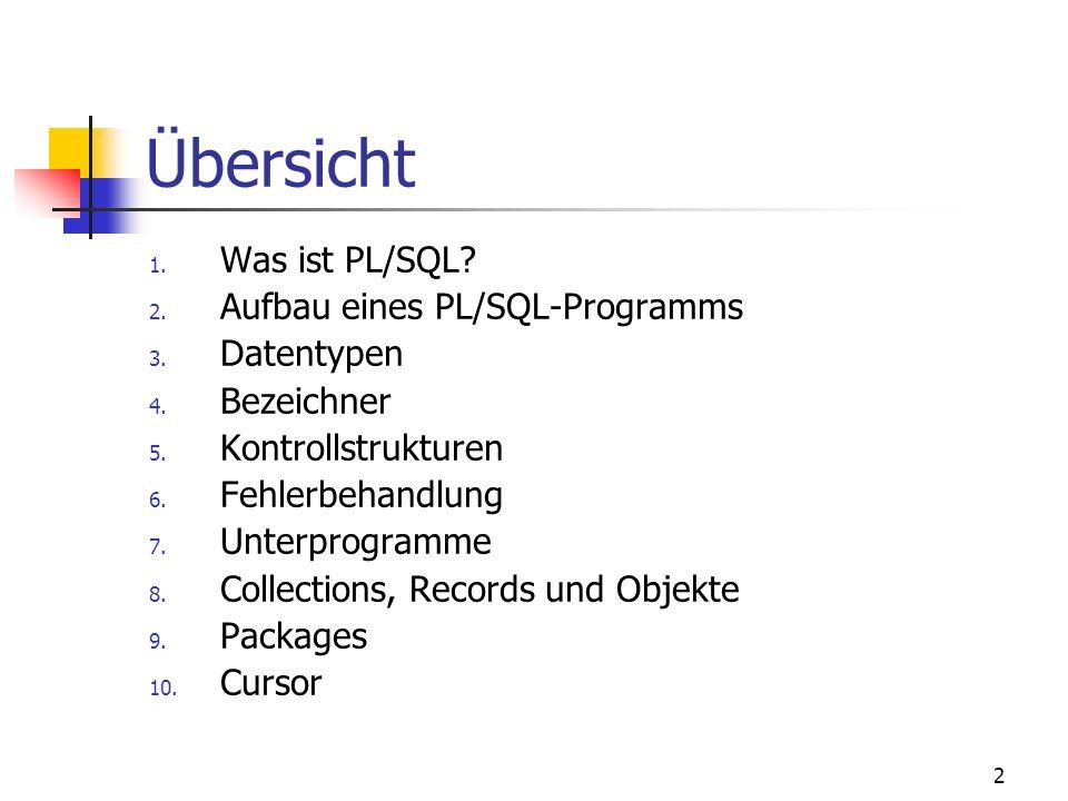 PL/SQL – Die prozedurale Erweiterungssprache Zu SQL von Andreas Schulz aschulz@imn.htwk-leipzig.de Andreas.Schulz@lpzm.siemens.de