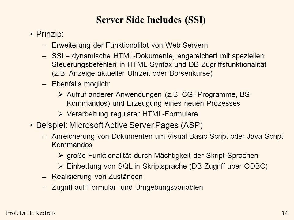 Prof. Dr. T. Kudraß14 Server Side Includes (SSI) Prinzip: –Erweiterung der Funktionalität von Web Servern –SSI = dynamische HTML-Dokumente, angereiche