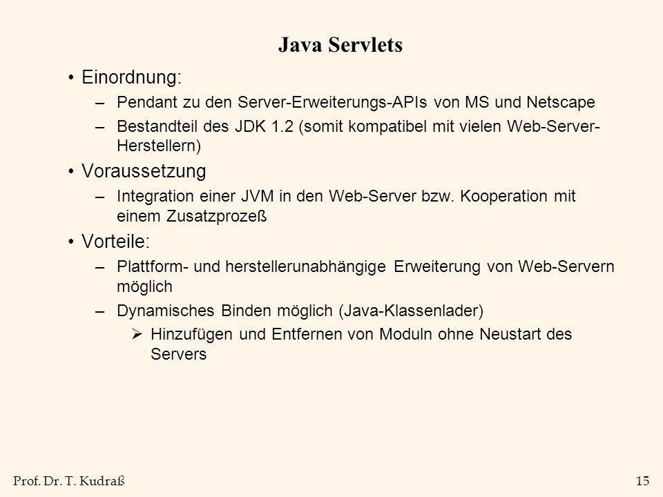 Prof. Dr. T. Kudraß15 Java Servlets Einordnung: –Pendant zu den Server-Erweiterungs-APIs von MS und Netscape –Bestandteil des JDK 1.2 (somit kompatibe