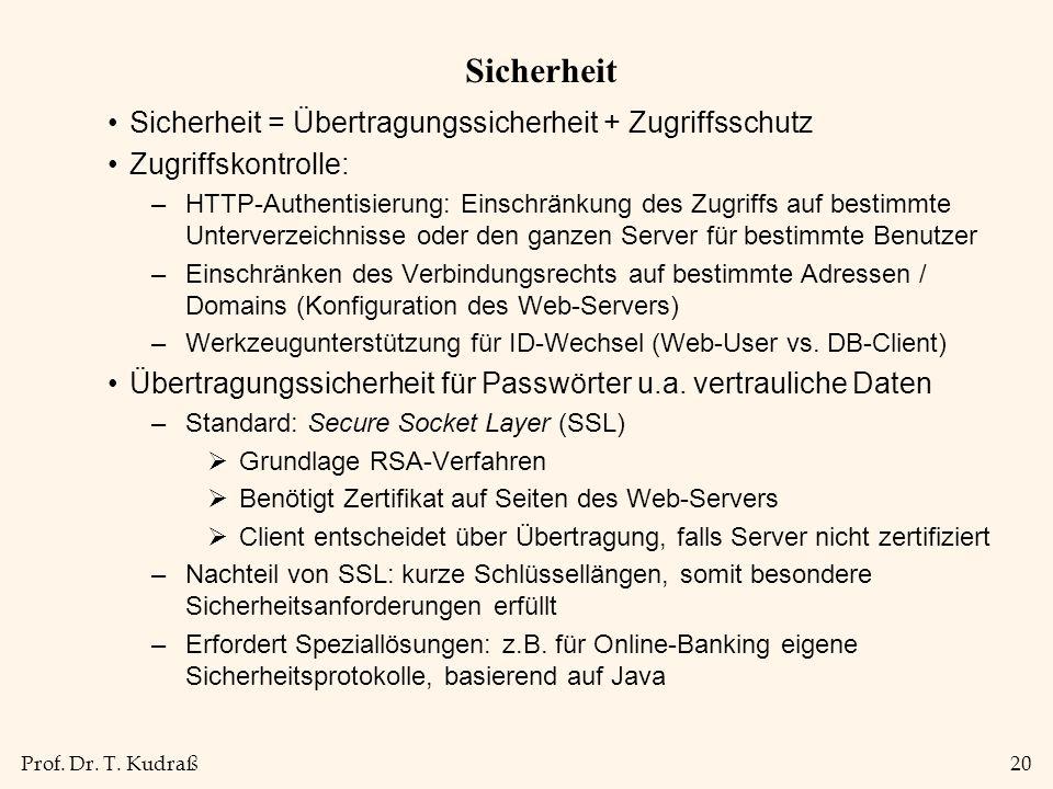 Prof. Dr. T. Kudraß20 Sicherheit Sicherheit = Übertragungssicherheit + Zugriffsschutz Zugriffskontrolle: –HTTP-Authentisierung: Einschränkung des Zugr