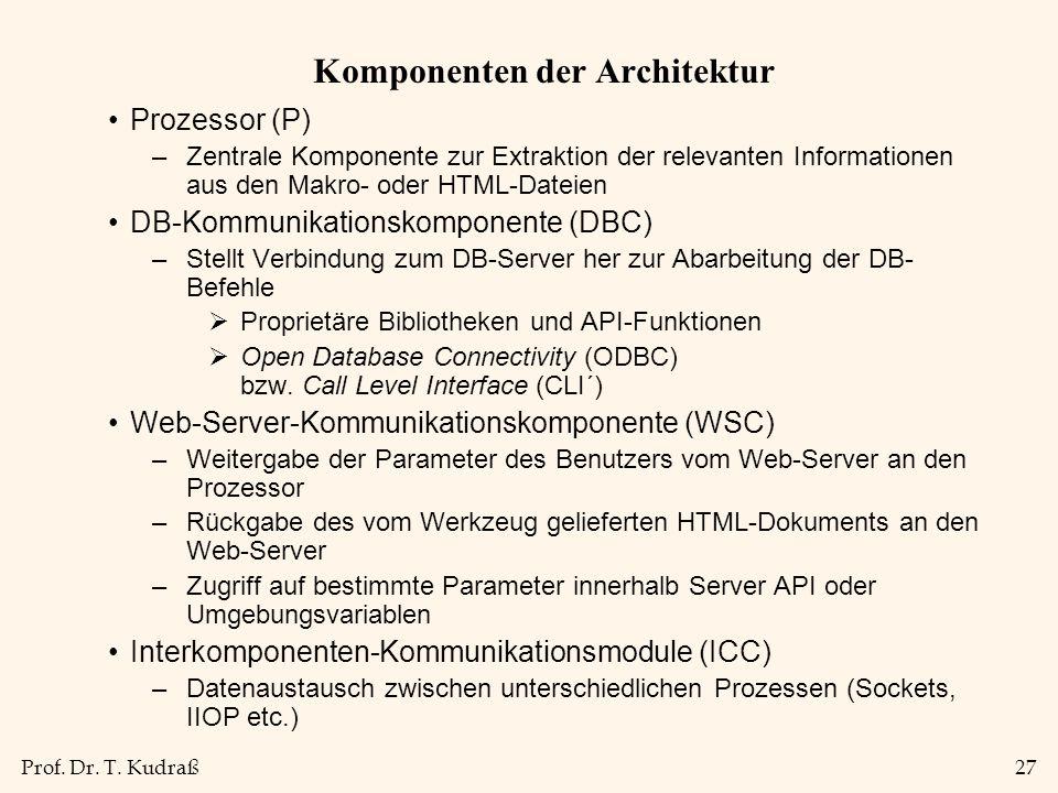 Prof. Dr. T. Kudraß27 Komponenten der Architektur Prozessor (P) –Zentrale Komponente zur Extraktion der relevanten Informationen aus den Makro- oder H