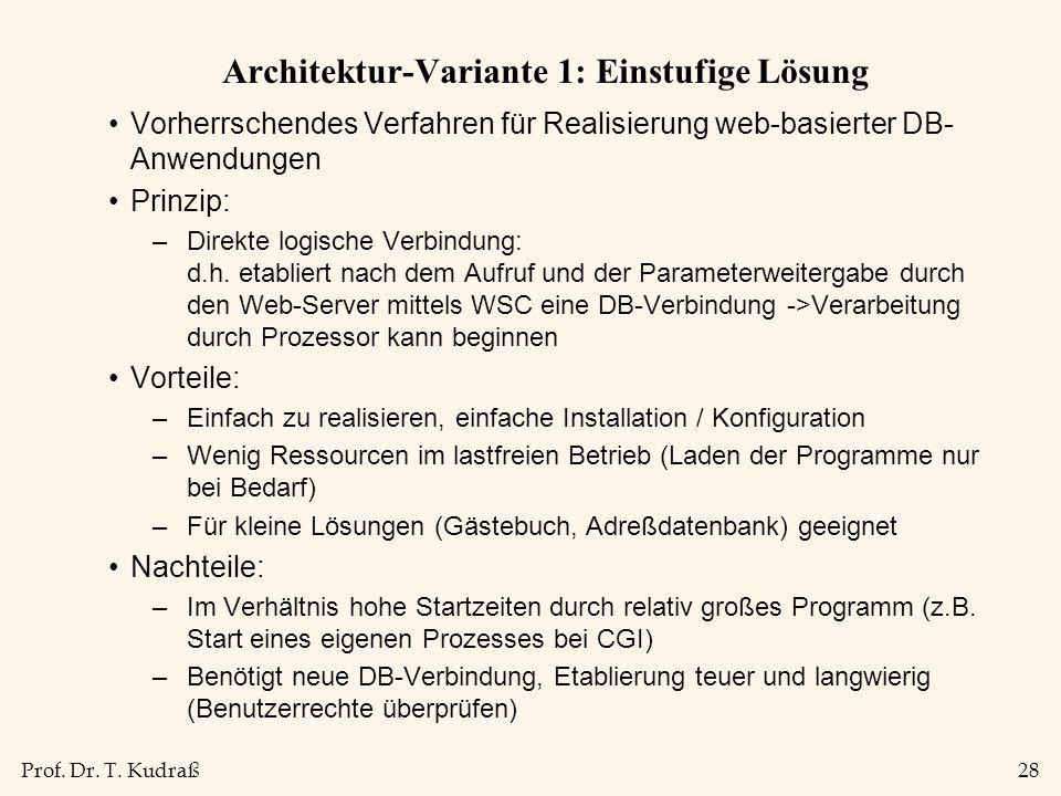 Prof. Dr. T. Kudraß28 Architektur-Variante 1: Einstufige Lösung Vorherrschendes Verfahren für Realisierung web-basierter DB- Anwendungen Prinzip: –Dir