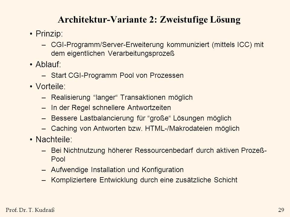 Prof. Dr. T. Kudraß29 Architektur-Variante 2: Zweistufige Lösung Prinzip: –CGI-Programm/Server-Erweiterung kommuniziert (mittels ICC) mit dem eigentli