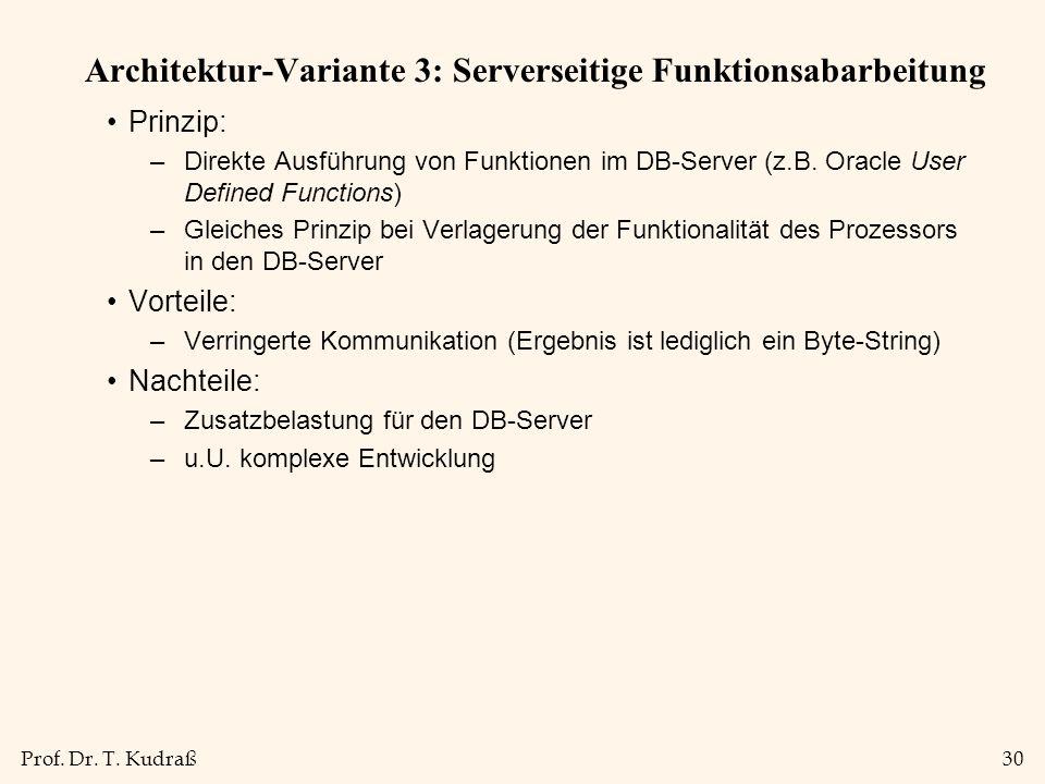 Prof. Dr. T. Kudraß30 Architektur-Variante 3: Serverseitige Funktionsabarbeitung Prinzip: –Direkte Ausführung von Funktionen im DB-Server (z.B. Oracle