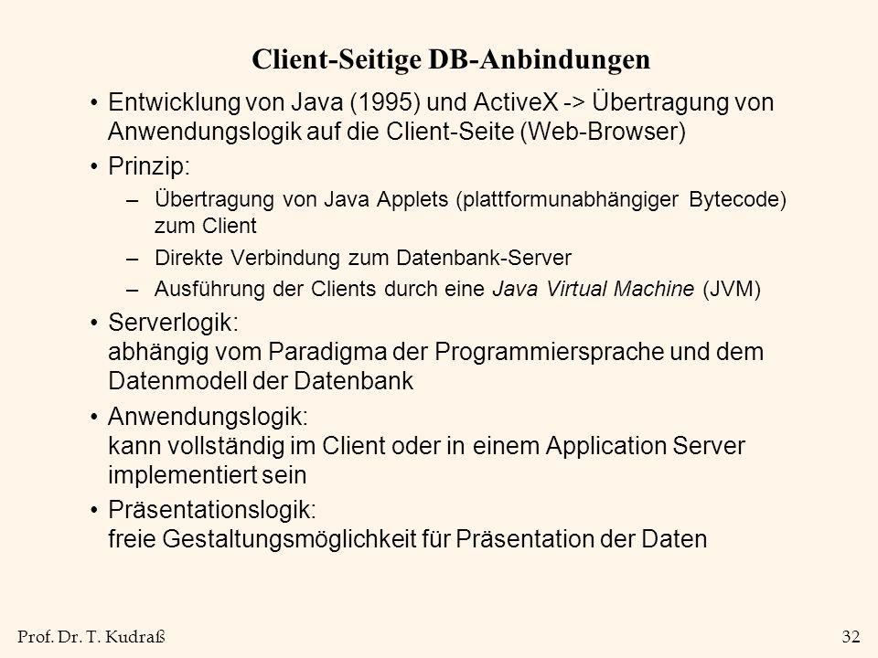 Prof. Dr. T. Kudraß32 Client-Seitige DB-Anbindungen Entwicklung von Java (1995) und ActiveX -> Übertragung von Anwendungslogik auf die Client-Seite (W