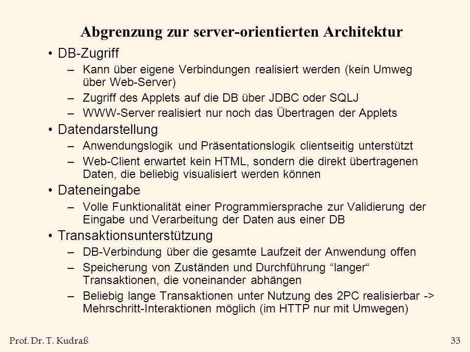 Prof. Dr. T. Kudraß33 Abgrenzung zur server-orientierten Architektur DB-Zugriff –Kann über eigene Verbindungen realisiert werden (kein Umweg über Web-