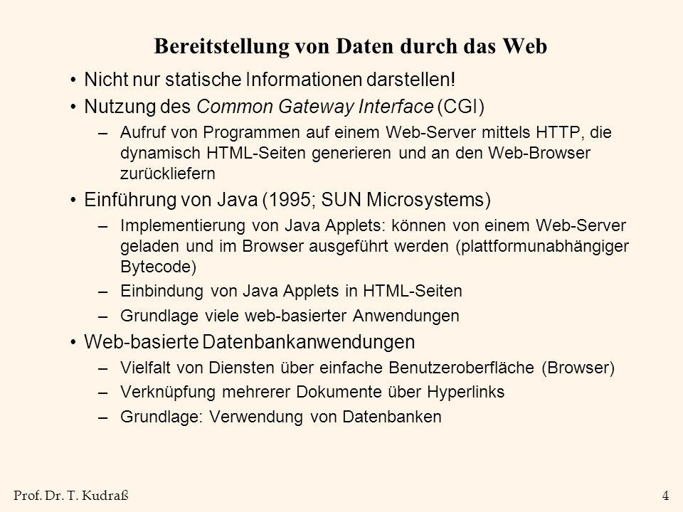 Prof. Dr. T. Kudraß4 Bereitstellung von Daten durch das Web Nicht nur statische Informationen darstellen! Nutzung des Common Gateway Interface (CGI) –