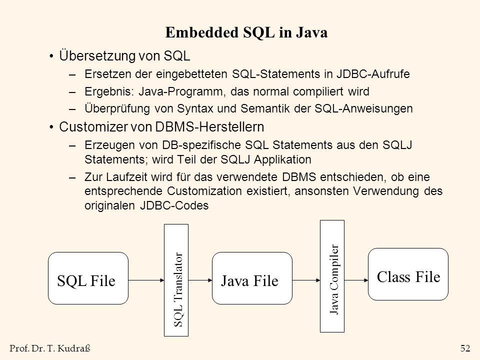 Prof. Dr. T. Kudraß52 Embedded SQL in Java Übersetzung von SQL –Ersetzen der eingebetteten SQL-Statements in JDBC-Aufrufe –Ergebnis: Java-Programm, da