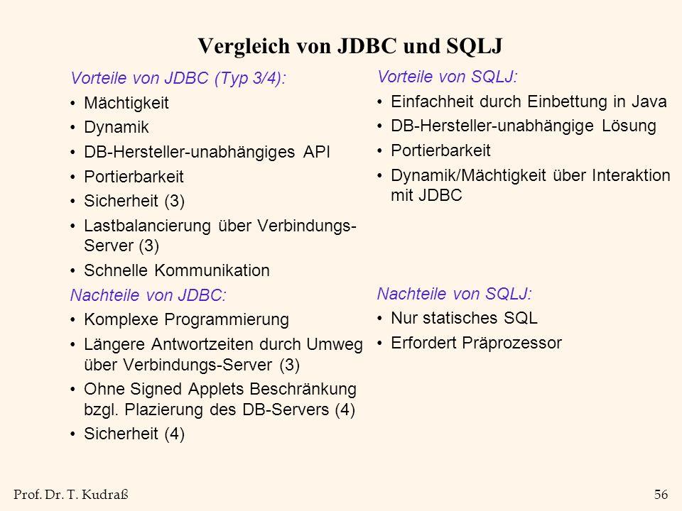 Prof. Dr. T. Kudraß56 Vergleich von JDBC und SQLJ Vorteile von JDBC (Typ 3/4): Mächtigkeit Dynamik DB-Hersteller-unabhängiges API Portierbarkeit Siche