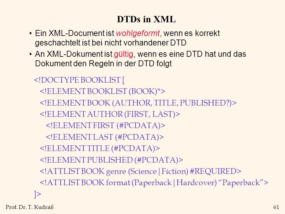 Prof. Dr. T. Kudraß61 DTDs in XML Ein XML-Document ist wohlgeformt, wenn es korrekt geschachtelt ist bei nicht vorhandener DTD An XML-Dokument ist gül