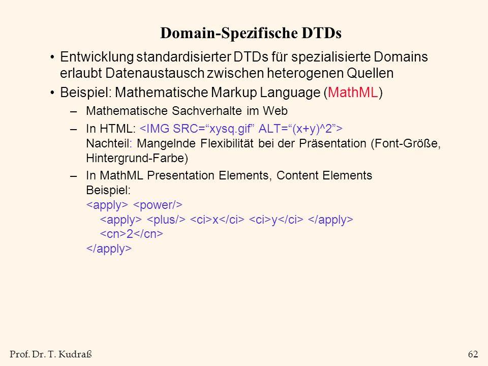 Prof. Dr. T. Kudraß62 Domain-Spezifische DTDs Entwicklung standardisierter DTDs für spezialisierte Domains erlaubt Datenaustausch zwischen heterogenen