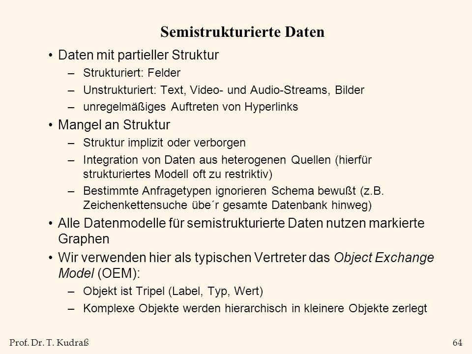 Prof. Dr. T. Kudraß64 Semistrukturierte Daten Daten mit partieller Struktur –Strukturiert: Felder –Unstrukturiert: Text, Video- und Audio-Streams, Bil