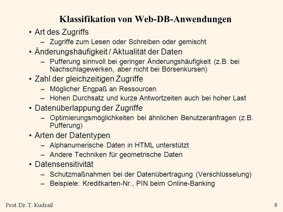 Prof. Dr. T. Kudraß8 Klassifikation von Web-DB-Anwendungen Art des Zugriffs –Zugriffe zum Lesen oder Schreiben oder gemischt Änderungshäufigkeit / Akt
