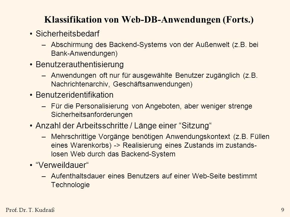 Prof. Dr. T. Kudraß9 Klassifikation von Web-DB-Anwendungen (Forts.) Sicherheitsbedarf –Abschirmung des Backend-Systems von der Außenwelt (z.B. bei Ban