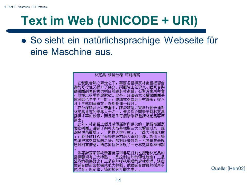 © Prof. F. Naumann, HPI Potsdam 14 Text im Web (UNICODE + URI) So sieht ein natürlichsprachige Webseite für eine Maschine aus. Quelle: [Hen02]