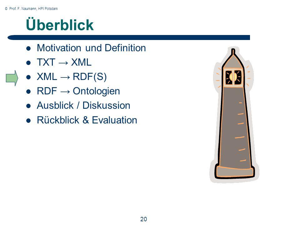 © Prof. F. Naumann, HPI Potsdam 20 Überblick Motivation und Definition TXT XML XML RDF(S) RDF Ontologien Ausblick / Diskussion Rückblick & Evaluation