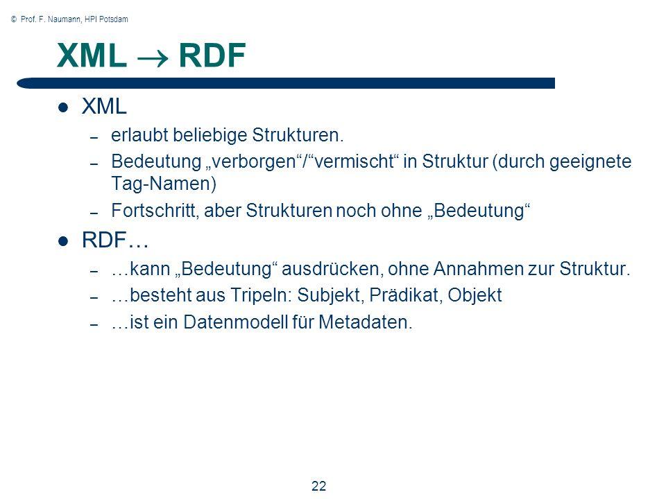 © Prof. F. Naumann, HPI Potsdam 22 XML RDF XML – erlaubt beliebige Strukturen. – Bedeutung verborgen/vermischt in Struktur (durch geeignete Tag-Namen)