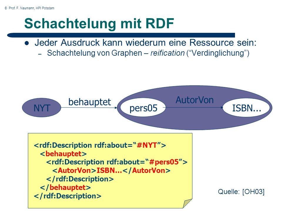 © Prof. F. Naumann, HPI Potsdam 25 Schachtelung mit RDF Jeder Ausdruck kann wiederum eine Ressource sein: – Schachtelung von Graphen – reification (Ve
