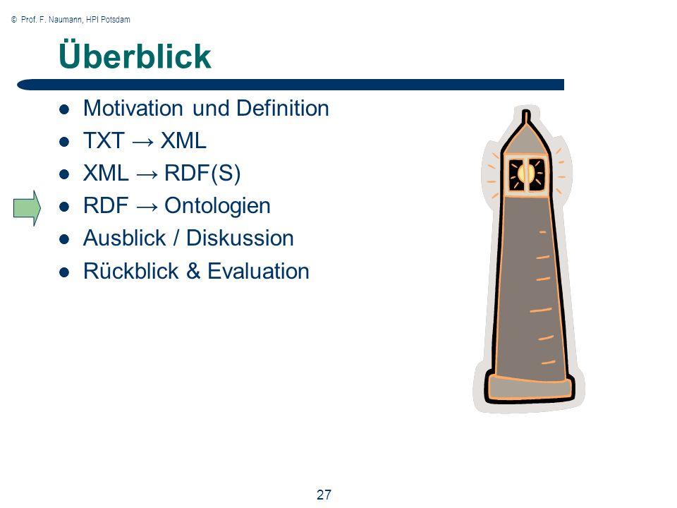 © Prof. F. Naumann, HPI Potsdam 27 Überblick Motivation und Definition TXT XML XML RDF(S) RDF Ontologien Ausblick / Diskussion Rückblick & Evaluation