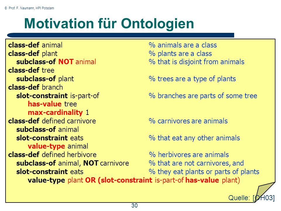 © Prof. F. Naumann, HPI Potsdam 30 Motivation für Ontologien class-def animal% animals are a class class-def plant% plants are a class subclass-of NOT