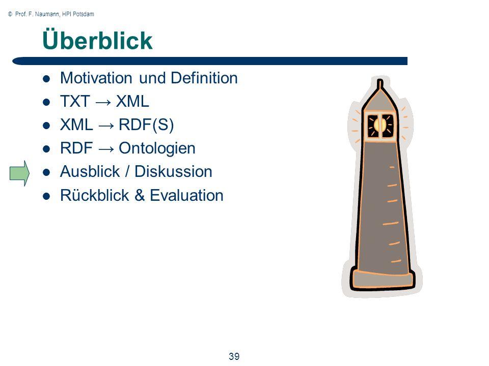 © Prof. F. Naumann, HPI Potsdam 39 Überblick Motivation und Definition TXT XML XML RDF(S) RDF Ontologien Ausblick / Diskussion Rückblick & Evaluation