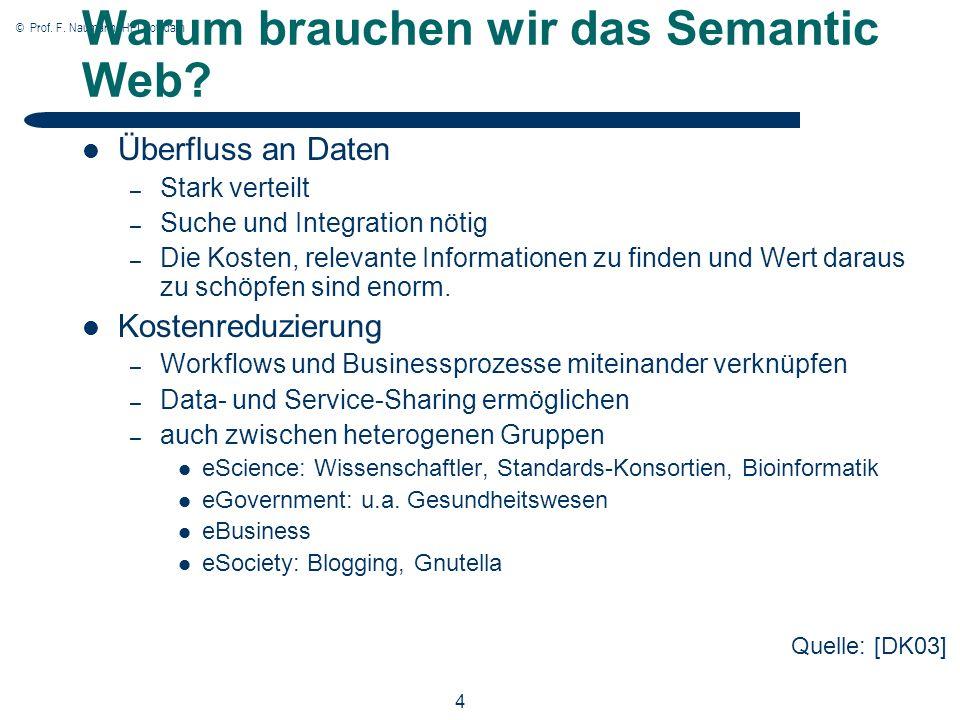 © Prof. F. Naumann, HPI Potsdam 4 Warum brauchen wir das Semantic Web.