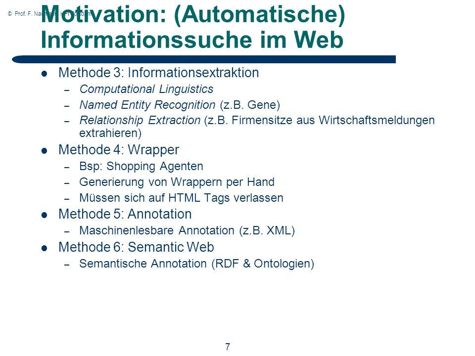 © Prof. F. Naumann, HPI Potsdam 7 Motivation: (Automatische) Informationssuche im Web Methode 3: Informationsextraktion – Computational Linguistics –