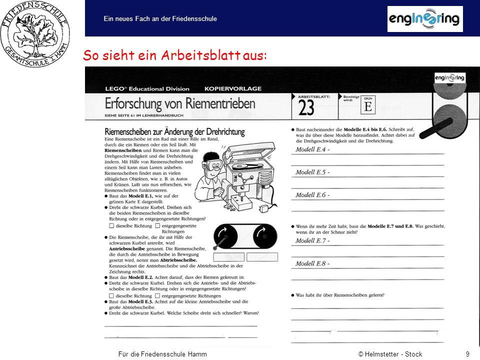 Ein neues Fach an der Friedensschule Für die Friedensschule Hamm © Helmstetter - Stock9 So sieht ein Arbeitsblatt aus: